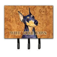 Doberman Wipe Your Paws Leash Holder and Key Holder by Caroline's Treasures