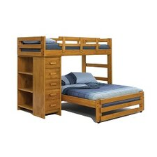 Twin Over Full Loft Bed with 5 Drawer Chest and Bookshelf End by Chelsea Home