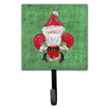 Christmas Santa Fleur De Lis Leash Holder and Wall Hook by Caroline's Treasures