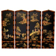 36 x 48 Ching Wall Plaques 4 Panel Room Divider (Set of 4) by Oriental Furniture