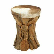 Wood Hide Leather Round Stool by Cole & Grey