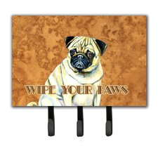 Fawn Pug Wipe Your Paws Leash Holder and Key Hook by Caroline's Treasures