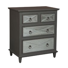 Moira Mirrored Cottage 4 Drawer Nightstand by House of Hampton
