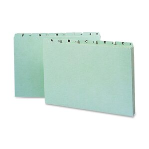 Recycled Top Tab File Guides, Alpha, 1/5 Tab, Pressboard, Legal, 25/Set