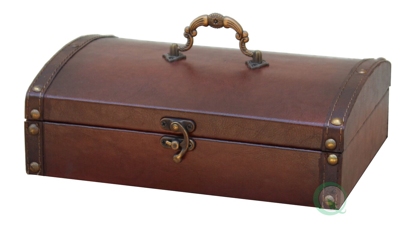 Quickway Imports Small Vintage Style Leather Treasure Chest ...