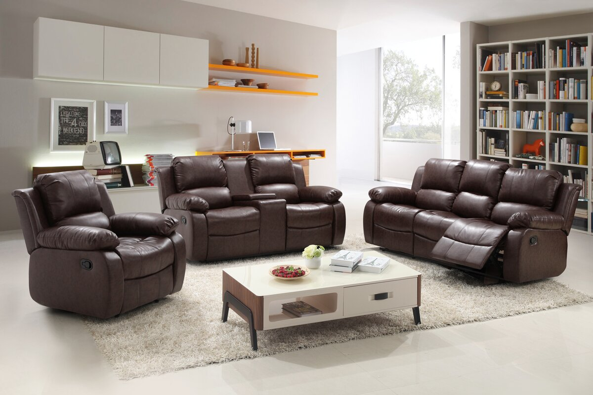 living in style reno 3 piece reclining living room set & reviews