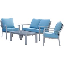 Lehighton Brushed Aluminum Patio Furniture 4 Piece Deep Seating Group With  Cushion