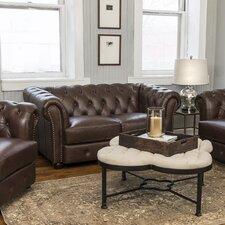 Davlos Leather Chesterfield Loveseat by Bay Isle Home