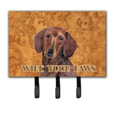Dachshund Wipe Your Paws Leash Holder and Key Hook by Caroline's Treasures