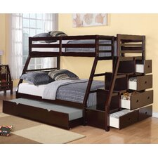 Reece Twin Over Full Bunk Bed with Storage Ladder and Trundle by Viv + Rae