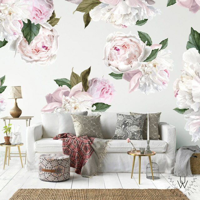 3d Large Size Round Dots Tree Wall Stickers Home Decor: Urban Walls 26 Piece Peonies Wall Decal Set