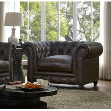 Damon Antique Brown Leather Club Chair by 17 Stories