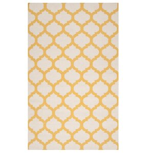 Modern Trellis Maize Area Rug