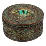 "World Menagerie Eye Of The Dragon And Scales Decorative Round Trinket Jewellery Box Figurine 4"" Wide Medieval Renaissance Winged Alchemy Magic Fantasy Sauron Dungeons Dragons Decorative Statue"
