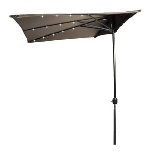6.5' Lighted Half Umbrella by Trademark Innovations Herry Up