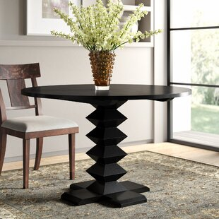 Zig-Zag Base Solid Wood Dining Table Noir