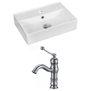 Reviews Above Counter Ceramic Rectangular Vessel Bathroom Sink with Faucet and Overflow ByRoyal Purple Bath Kitchen