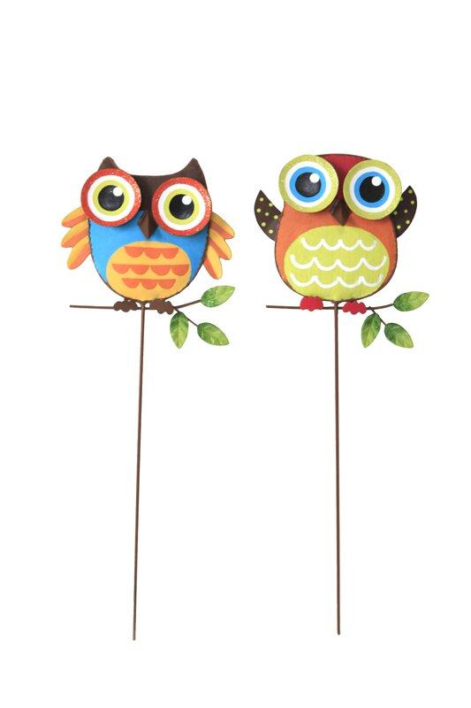 2 Piece Owl Yard Garden Stake Set