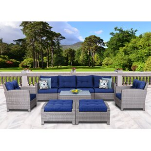 Dowdy 9 Piece Rattan Sectional Seating Group with Cushions