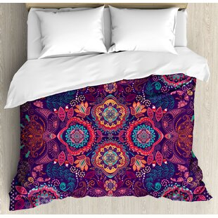 East Urban Home Paisley Modern Classic Indian Asian with Dots Leaves and Flowers Art Design Duvet Set