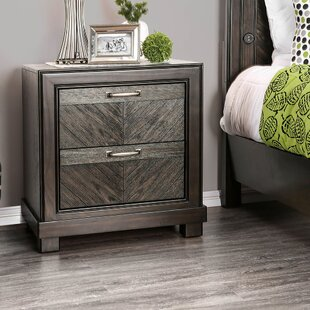 Balderas Transitional Plank Design 2 Drawer Nightstand