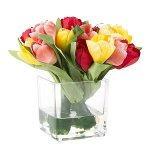Tulip Floral Arrangement in Glass Vase