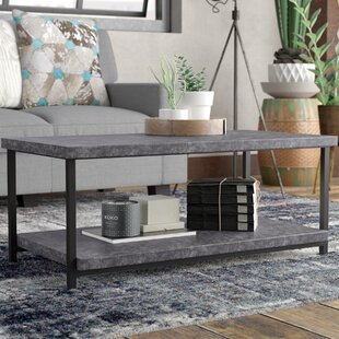 Gracie Oaks Wheaton Slate Faux Concrete Coffee Table