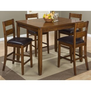 Ismael 5 Piece Counter Height Solid Wood Dining Set Millwood Pines