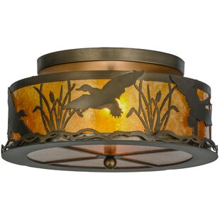 Meyda Tiffany Ducks in Flight 2-Light Flush Mount
