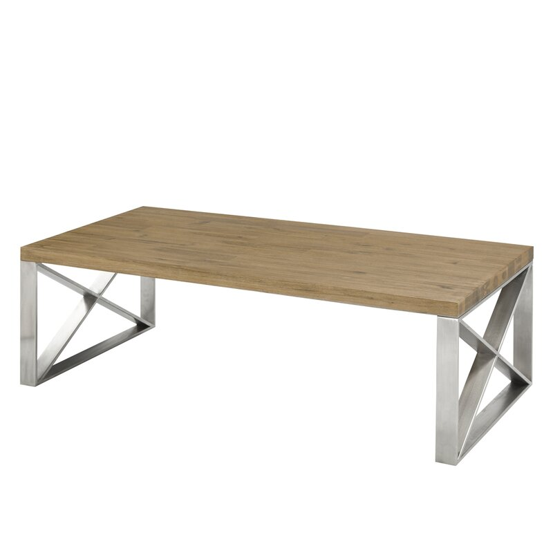 Brayden Studio Rempe Stainless Steel Distressed Wood Coffee Table