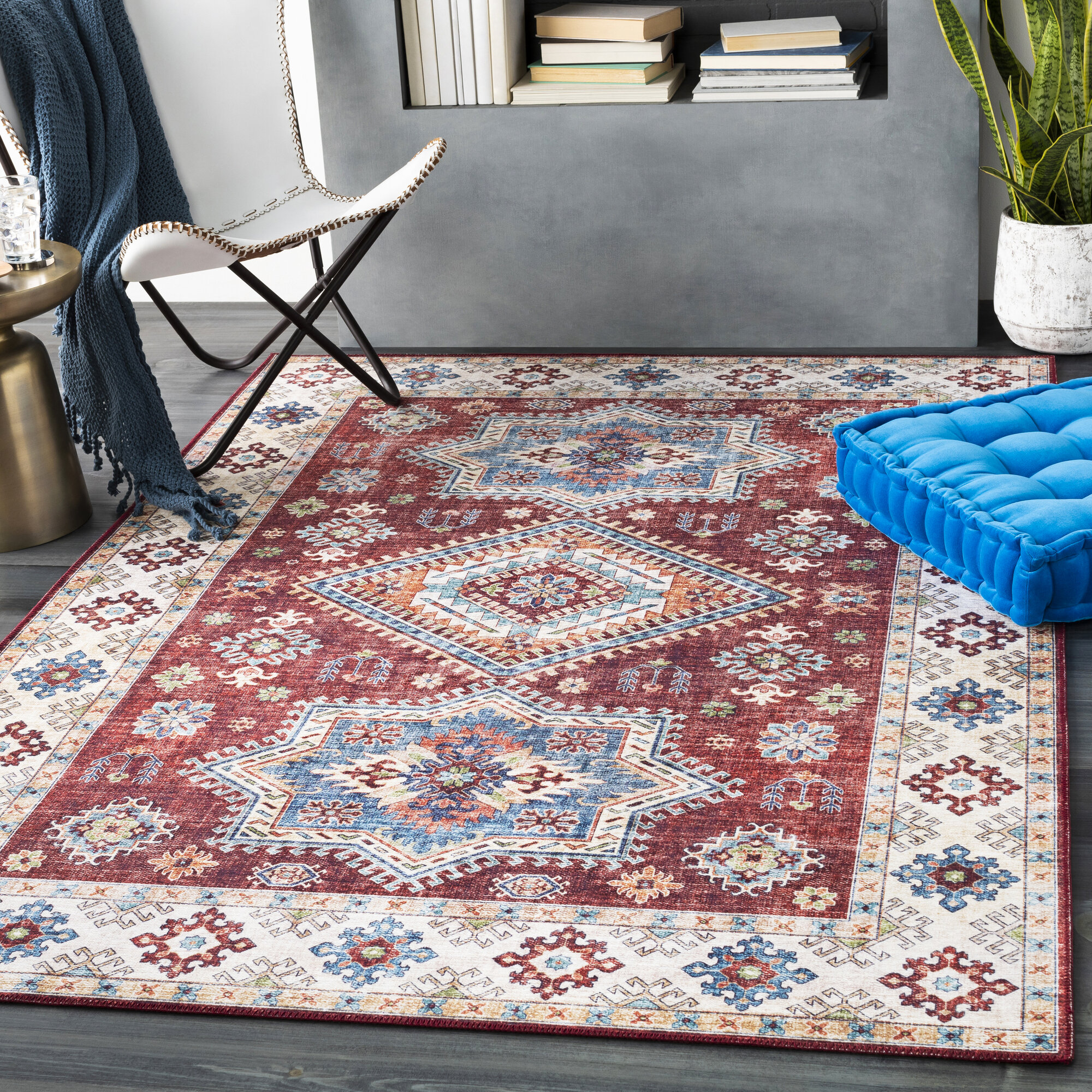 Cyr Traditional Dark Red White Area Rug