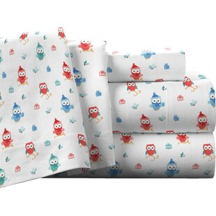 Pointehaven Owl 100% Cotton Flannel Sheet Set