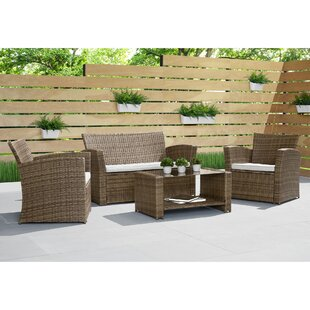 Beliveau 4 Piece Rattan Sofa Seating Group with Cushions