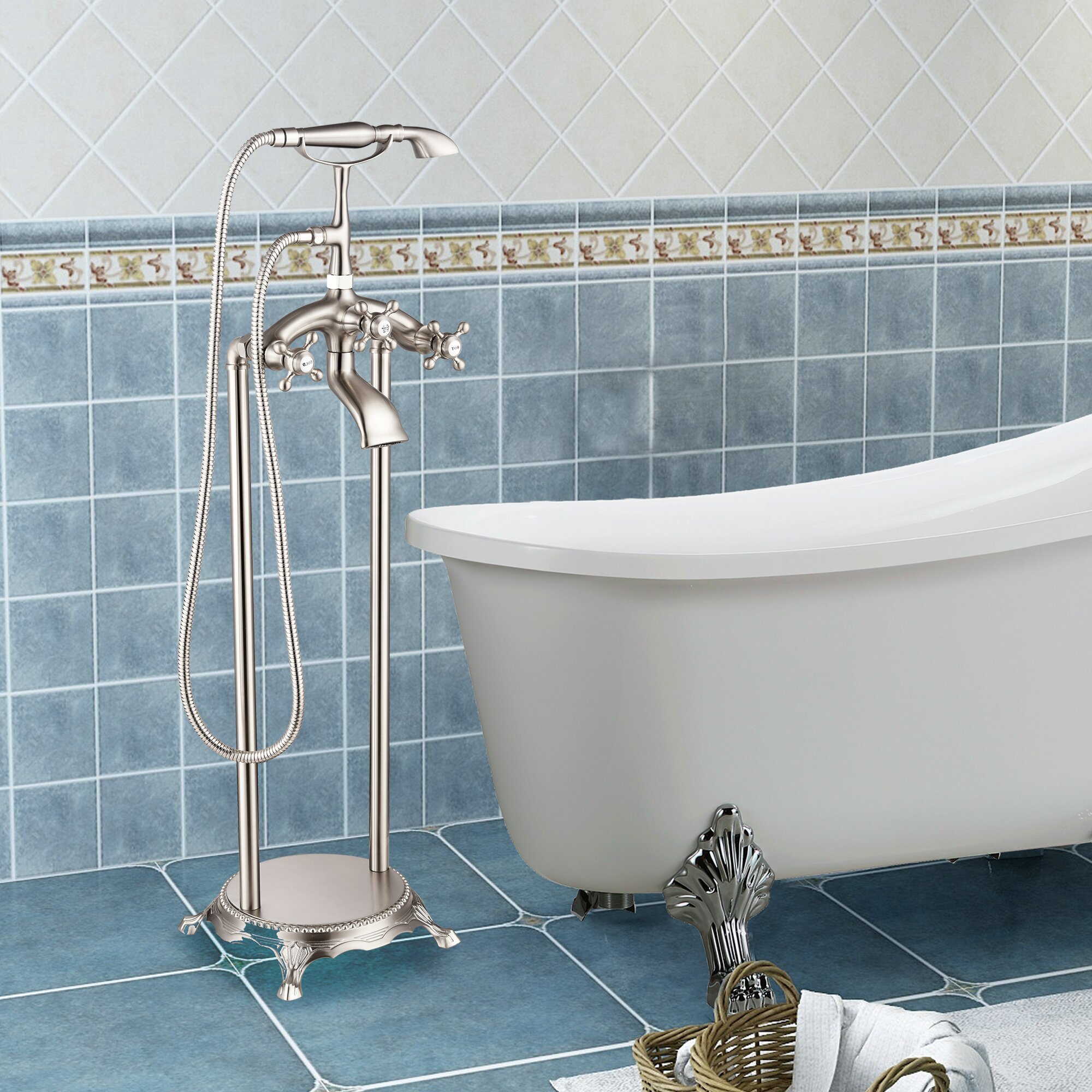 Picture of: Larissa Handle Floor Mounted Clawfoot Tub Faucet Trim With Diverter And Handshower Reviews Birch Lane