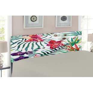 Watercolor Flower East Urban Home Upholstered Panel Headboard by East Urban Home