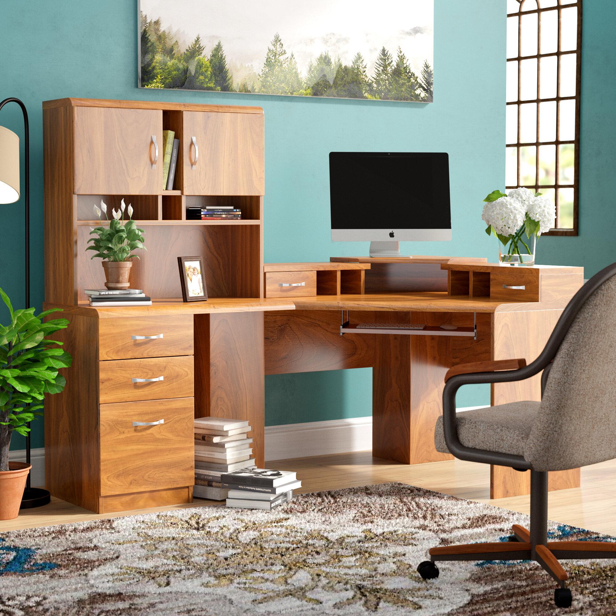 image corner computer. Red Barrel Studio Lewisville Corner Computer Desk With Hutch \u0026 Reviews   Wayfair Image