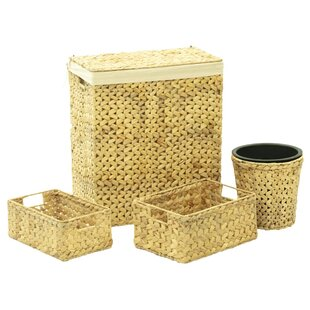 4 Piece Wicker Laundry Hamper And Waste Basket Set By Bay Isle Home