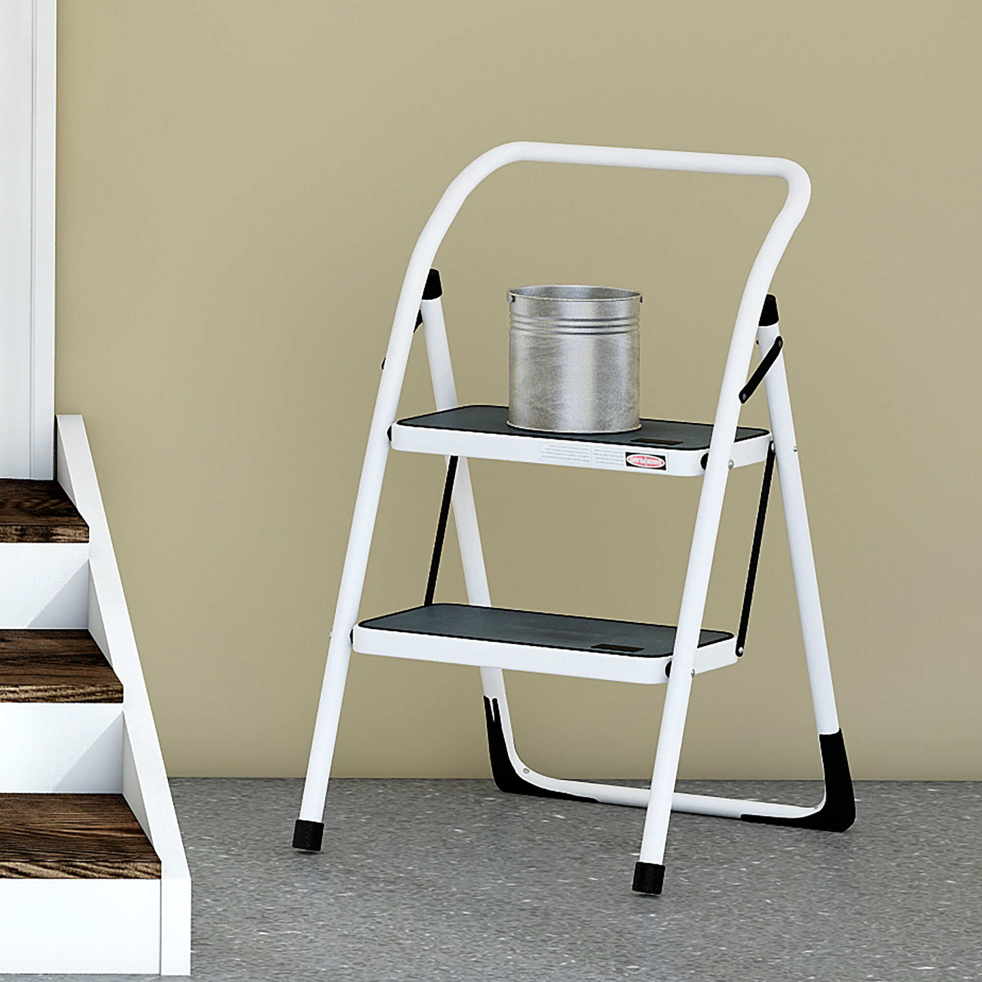 Peachy Wayfair Basics 2 Step Steel Step Stool With 300 Lb Load Capacity Pabps2019 Chair Design Images Pabps2019Com