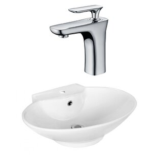 Big Save Above Counter Ceramic Oval Vessel Bathroom Sink with Faucet and Overflow ByRoyal Purple Bath Kitchen