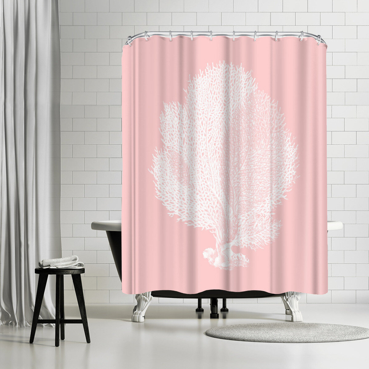 East Urban Home Adams Ale Mil Pink Seafn Coral Shower Curtain