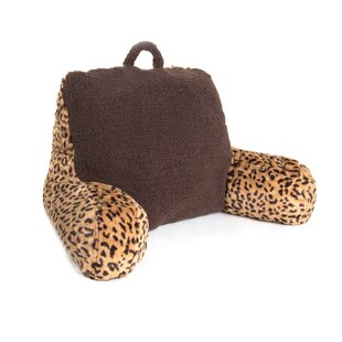 Sleeping Partners 2 Plush Cheetah Print and Sherpa Bed Rest Polyfill Pillow