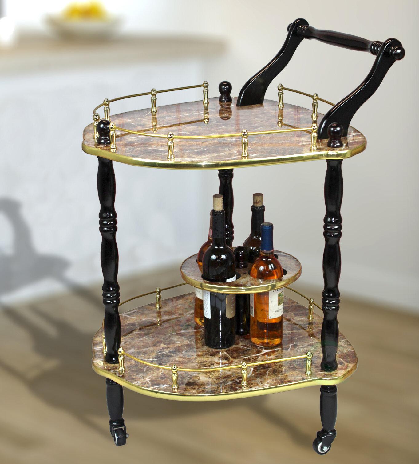 Otterville 2-Tier Elegantly Shaped Bar Cart By Astoria Grand