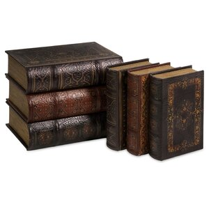 6 Piece Brown Book Box Collection Set