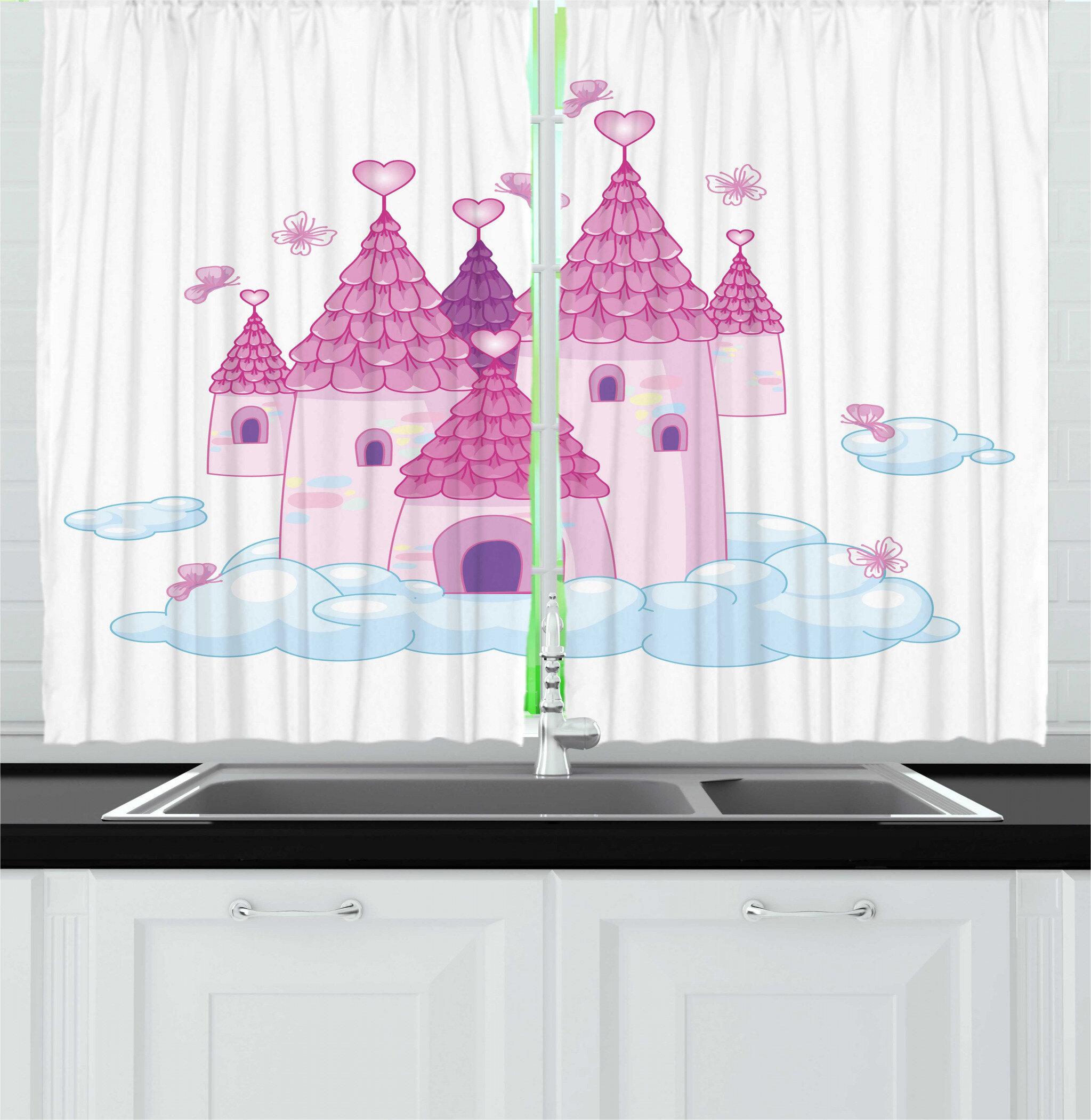 East Urban Home 2 Piece Castle Illustration Of Magic Tale Fantasy Princess In Dreamy Colors Kitchen Curtain Set Wayfair