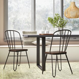 Szymanski Industrial Solid Steel Dining Chair (Set of 2)