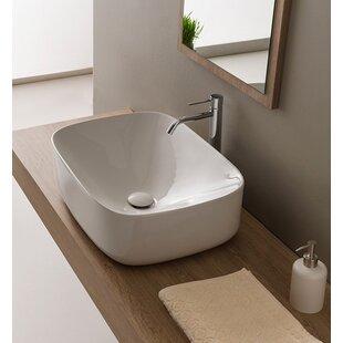 Online Reviews Moon Ceramic Oval Vessel Bathroom Sink ByScarabeo by Nameeks