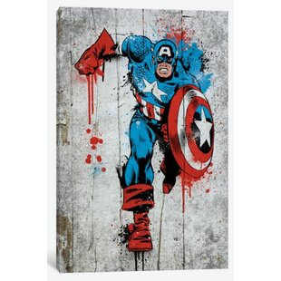 Great Marvel Comic Book: Captain America Spray Paint Graphic Art On Canvas