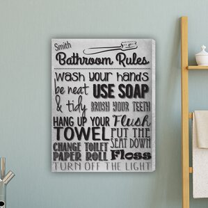 Bathroom Rules Textual Art on Canvas in White
