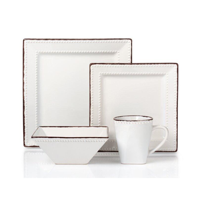 Beaded Stoneware 16 Piece Dinnerware Set Service for 4  sc 1 st  Wayfair & Lorren Home Trends Beaded Stoneware 16 Piece Dinnerware Set Service ...