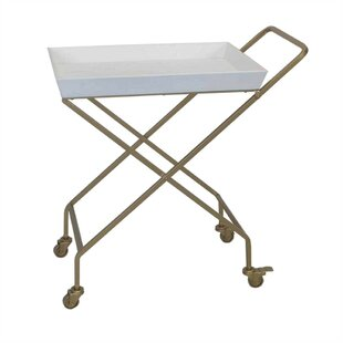 Devon Antique Metal and Wood Mobile Serving Bar Cart by Brayden Studio